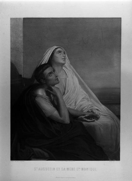 Ensemble de deux estampes : Saint Augustin et sa mère sainte Monique, le Christ aux Jardin des oliviers