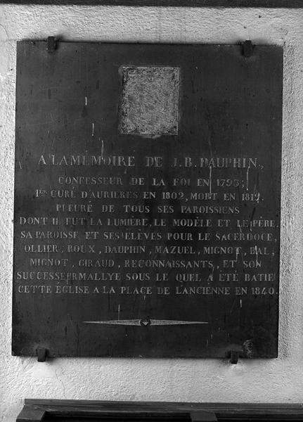 Plaques commémoratives : plaques de fondation de l'église