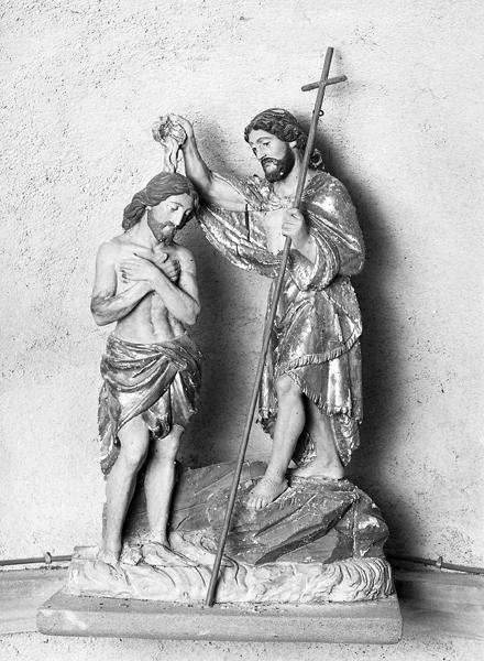 groupe sculpté : baptème du Christ