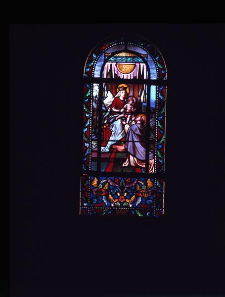 verrière : don du rosaire à saint Dominique (le)