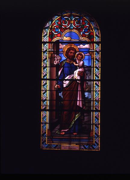 Ensemble de 5 verrières : saint Joseph, saint Jean-Baptiste Vianney, sainte Thérèse de l'Enfant Jésus, saint Martin