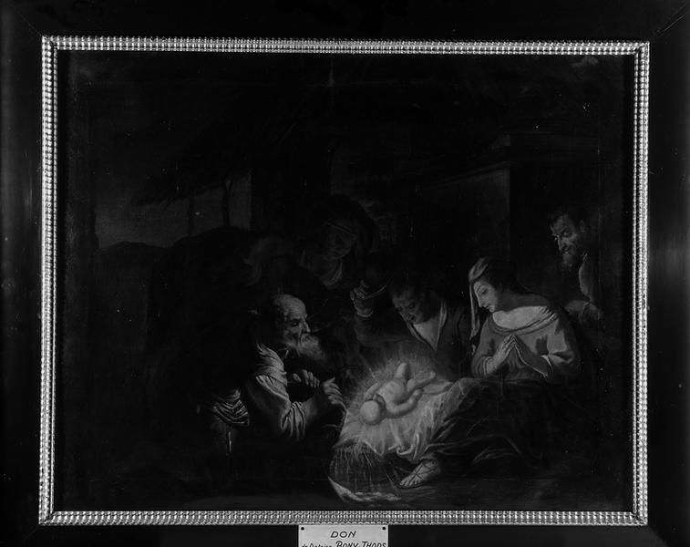 ensemble de deux tableaux : adoration des bergers et la fuite en Egypte