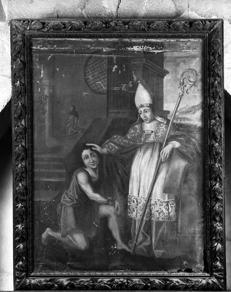 Ensemble de 2 tableaux et leurs cadres : Saint Menou délivrant un noble breton