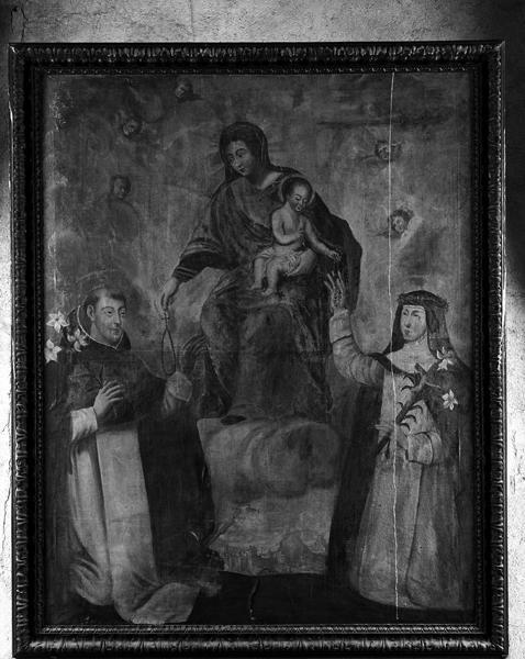 Tableau et son cadre : Saint Dominique et sainte Catherine de Sienne recevant le rosaire
