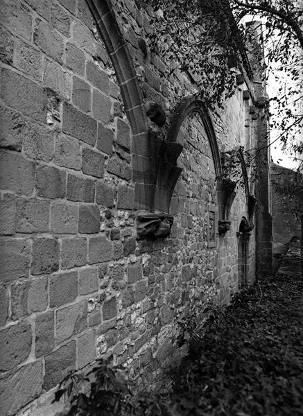 Vestiges du cloître de l'abbaye de Saint-Menoux, à présent jardin du presbytère