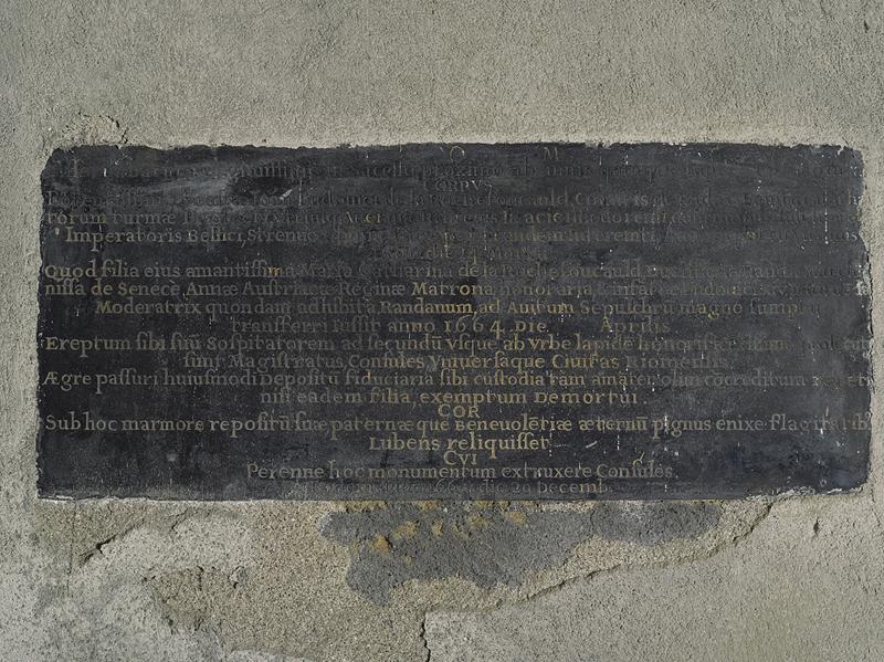 Plaque funéraire de Jean-Louis de La Rochefoucauld, comte de Randan