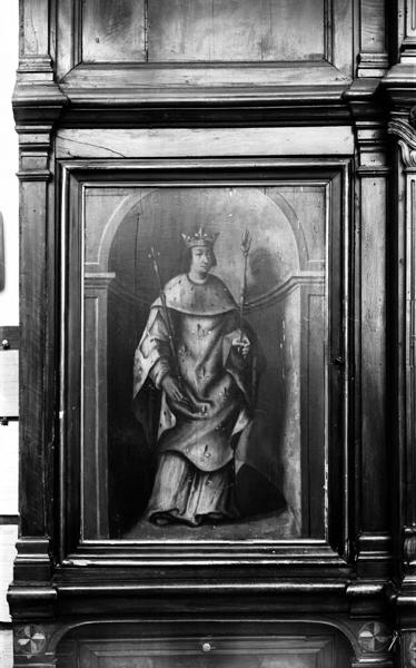 ensemble de 5 tableaux de portes du meuble de sacristie : la Vie de saint Louis : saint Louis, Mariage de Louis IX et Marguerite de Provence, Christ en croix, Mort de Blanche de Castille, Blanche de Castille