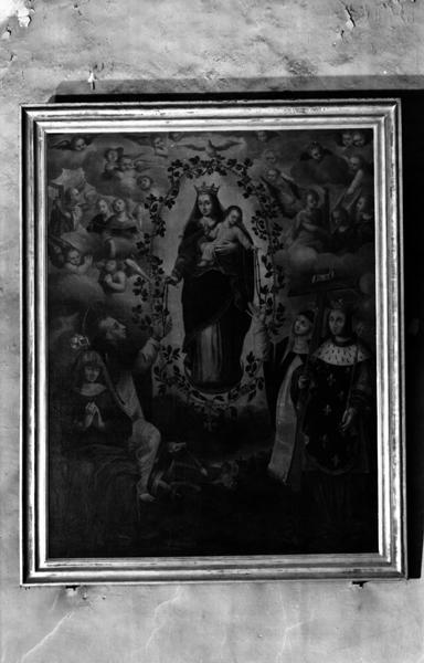 tableau : donation du Rosaire à saint Dominique et sainte Catherine de Sienne