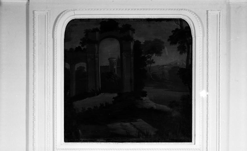 trumeau de cheminée - tableau : paysage de ruines antiques