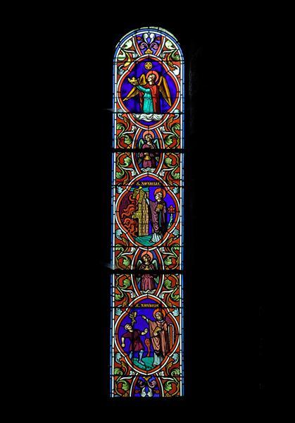 ensemble n°1 de trois verrières : les miracles de saint Amable
