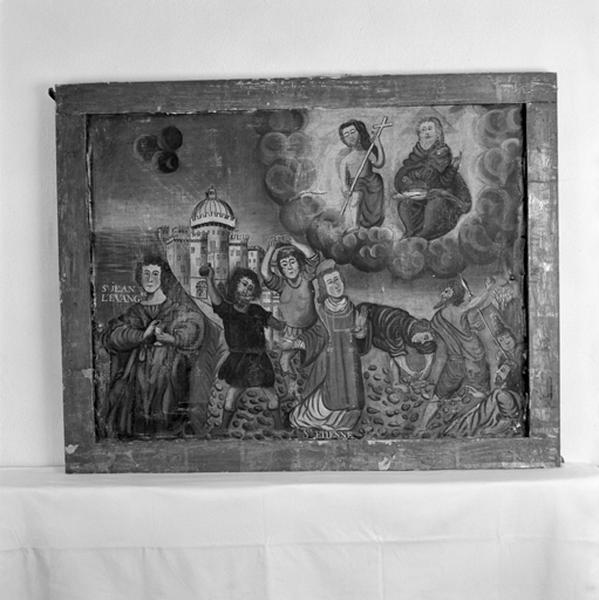 Tableau, cadre : Saint Jean et saint Etienne