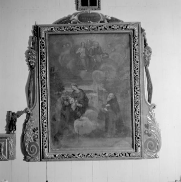 Retable à ailes et tableau : La Vierge à l'Enfant et saint Antoine abbé