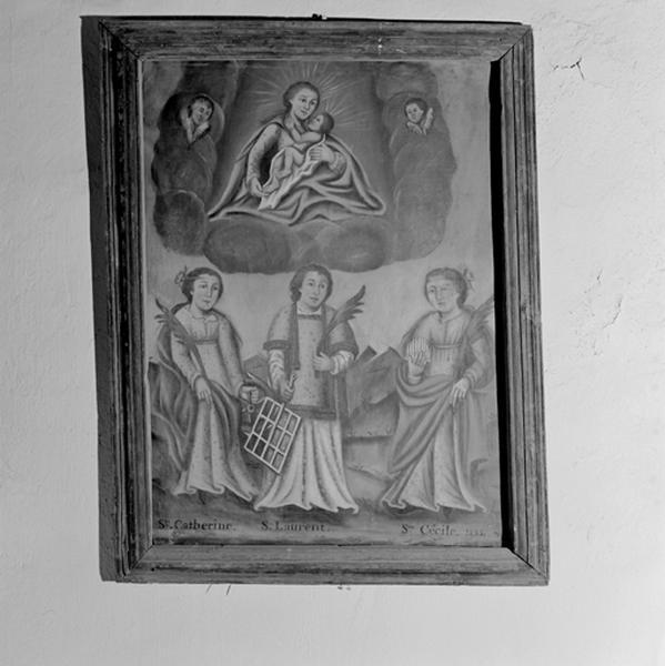 Tableau : Apparition de la Vierge à l'Enfant au-dessus de sainte Catherine d'Alexandrie, saint Laurent diacre et sainte Cécile