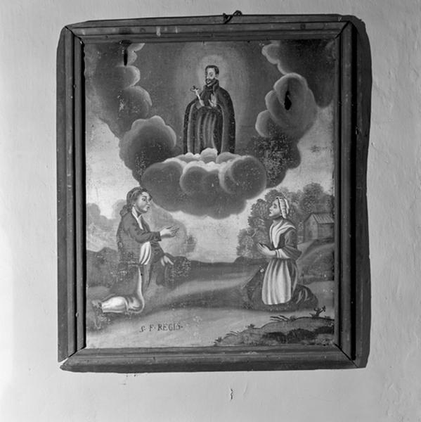 Tableau, cadre : Apparition de saint François Régis au-dessus d'un homme et d'une femme agenouillés