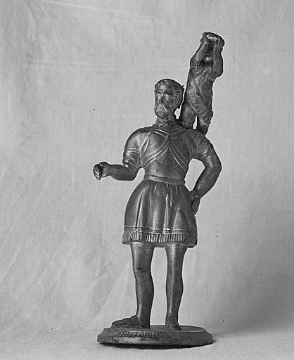 statues (2) : saint Christophe, saint Jacques de Compostelle