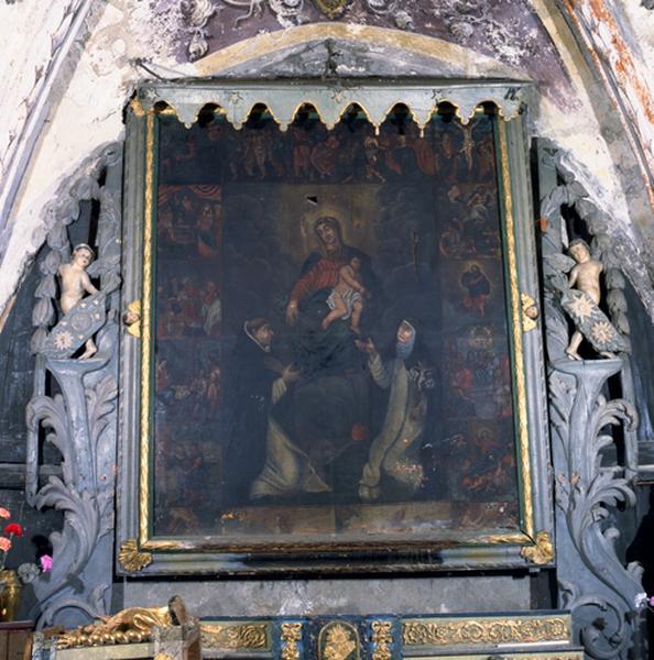 Tableau : La Vierge et l'Enfant remettant le rosaire à saint Dominique de Guzman et à sainte Catherine de Sienne