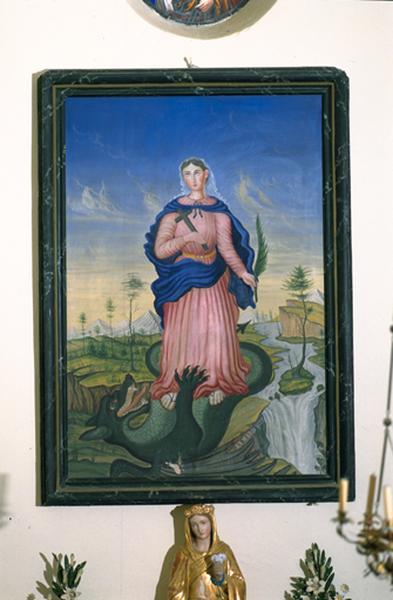 Tableau : Sainte Marguerite terrassant le dragon