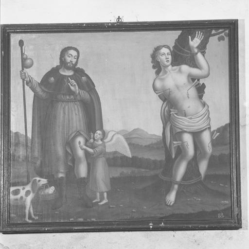 2 tableaux (en pendant) : Saint Roch de Montpellier et saint Sébastien, saint Barthélemy (?) et saint Jacques le Majeur.