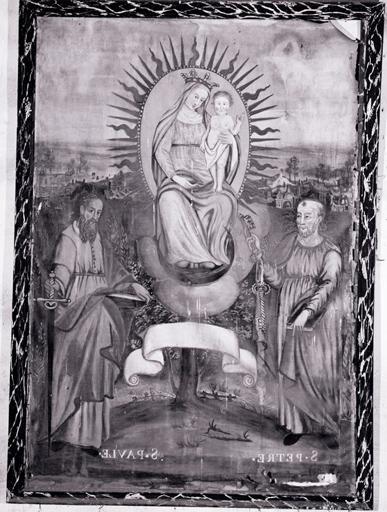 Tableau : Vierge à l'Enfant, saint Pierre apôtre, saint Paul de Tarse.