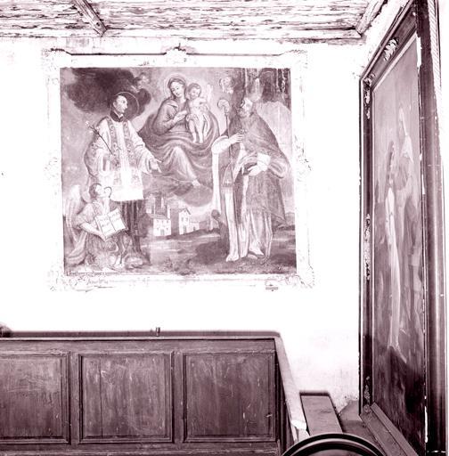Tableau : Vierge à l'Enfant, saint évêque, saint Philippe Neri.