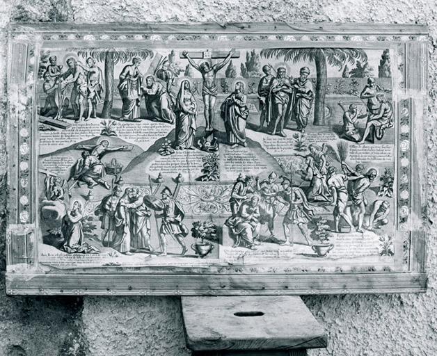 2 estampes (paire) : Passion du Christ, Martyre des apôtres.