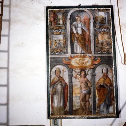 Tableau : Sainte Barbe, saint Sébastien, saint pape, évêque.
