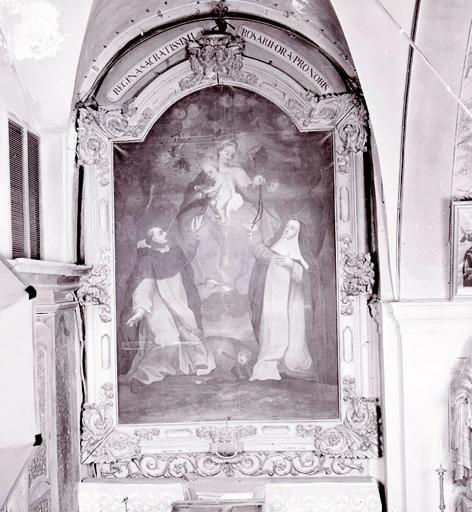 Tableau : Vierge à l'Enfant remettant le rosaire à saint Dominique de Guzman et à sainte Catherine de Sienne (n° 2).