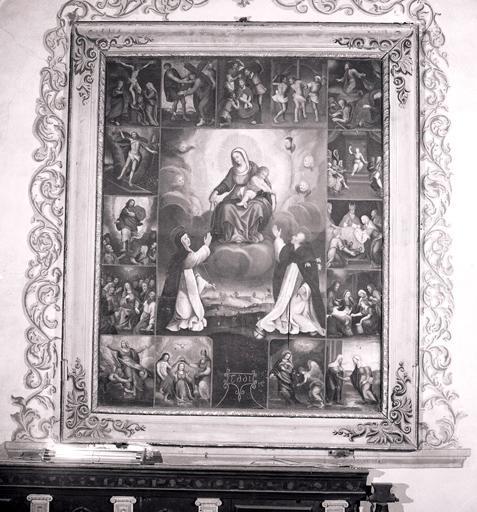 Tableau : Vierge à l'Enfant remettant le rosaire à saint Dominique de Guzman et à sainte Catherine de Sienne (n° 1).