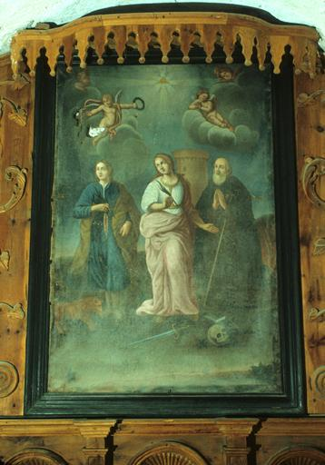 Tableau : Sainte Barbe, saint Mammès, saint Antoine abbé.
