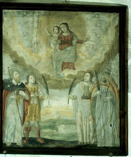 tableau : Vierge à l'Enfant, saint Jacques le Majeur, saint Mammès, sainte Barbe, saint Marcellin