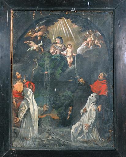 Tableau (tableau d'autel) : la Vierge et l'Enfant remettent une discipline à 2 pénitents blancs