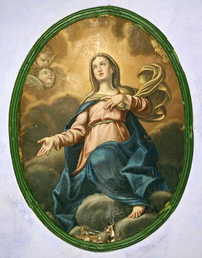 5 tableaux : Vierge de gloire, saint Paul, saint Léonard, saints