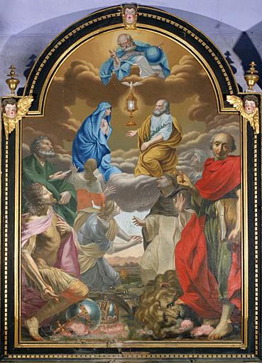 Tableau (tableau d'autel) : Dieu le Père, Vierge, saint Joseph, saints