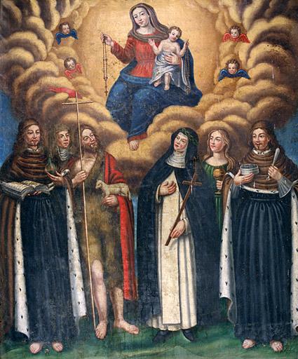 Tableau (tableau d'autel) : Remise du Rosaire à un groupe de saints