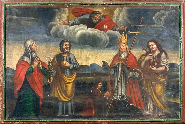Tableau : Dieu le Père et un groupe de saints