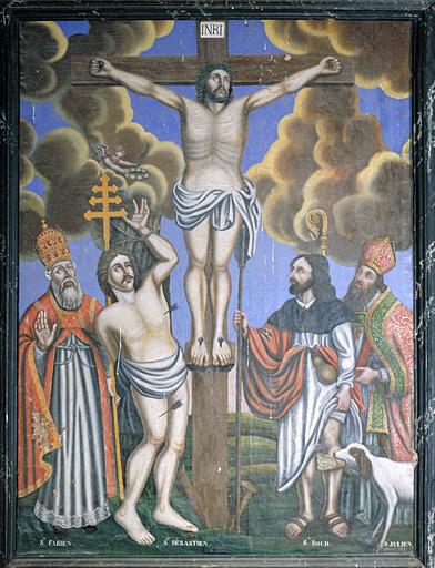 tableau : Christ en croix, saint Fabien, saint Sébastien, saint Julien, saint Roch