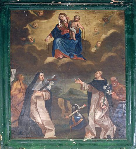 Tableau : Remise du Rosaire à saint Dominique et sainte Catherine de Sienne