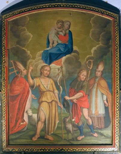 Tableau (tableau d'autel) : Vierge à l'Enfant et 4 saints intercesseurs
