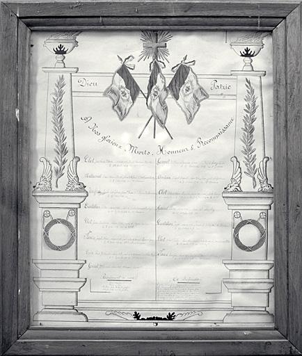 Tableau commémoratif des morts : de la guerre 14 18