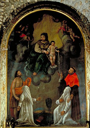 Tableau (tableau d'autel) : la Vierge et l'enfant remettent une cordelière à 2 pénitents blancs