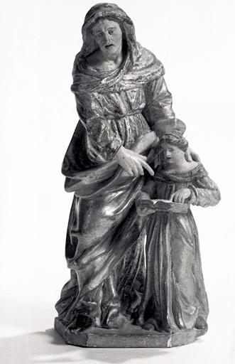 Groupe sculpté (statuette) : Education de la Vierge.