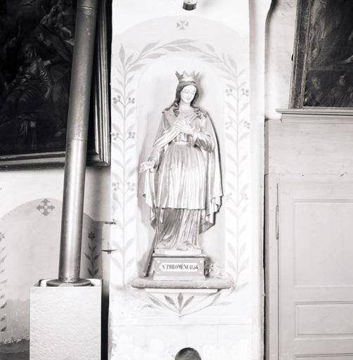 4 statues : Vierge à l'Enfant, Saint Joseph, Sainte Philomène, Sainte Apollonie d'Alexandrie, 2 couronnes de statue