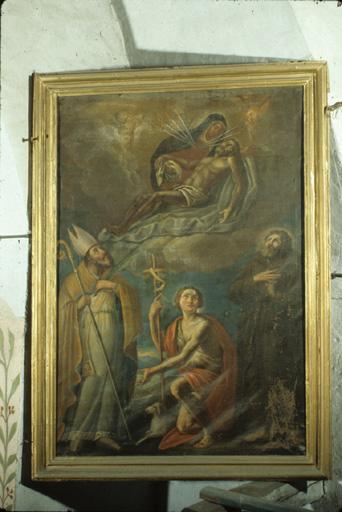 Tableau : Vierge des Sept Douleurs, Saint évêque, Saint Jean Baptiste, Saint François d'Assise.
