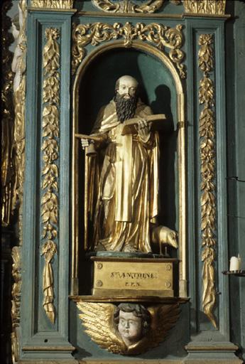 Groupe sculpté : Saint Antoine abbé.