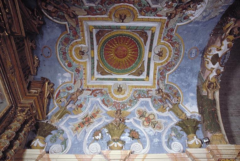 Arc, voûte (voûte en berceau), pilastres (2), colonnes (6) : ensemble du décor du choeur