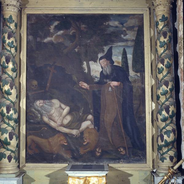 Tableau (tableau d'autel) : la visite de saint Antoine à Saint-Paul ermite