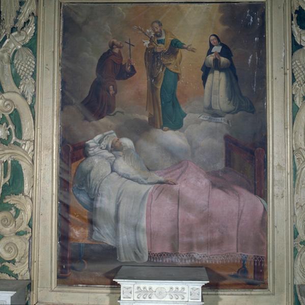 Tableau (tableau d'autel) : saint Joseph, saint François d'Assise et la bienheureuse Emilie apparaissant à un agonisant