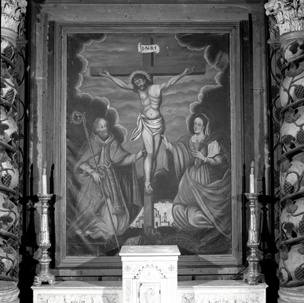 Tableau (tableau d'autel) : Christ en croix entre saint Blaise et sainte Marguerite
