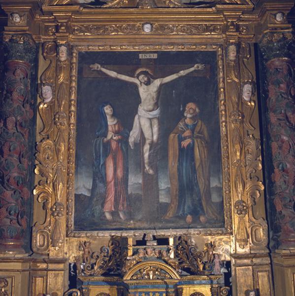 Tableau (tableau d'autel) : Christ en croix entre la Vierge et saint Pierre