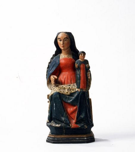 3 statuettes : Vierge en présentation, Saint Antoine abbé, Sainte Barbe.